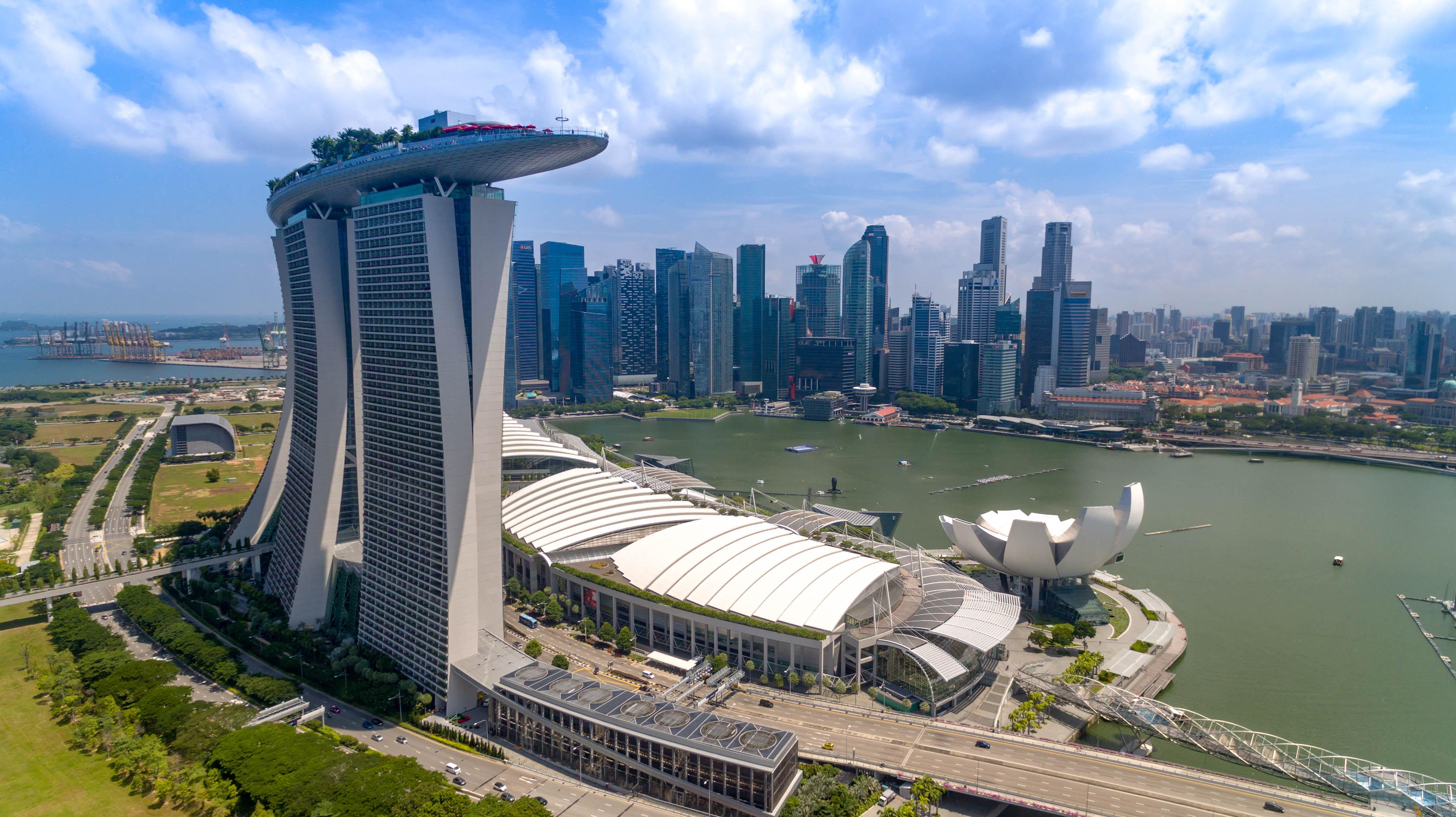 Vista aerea de Marina Bay Sands Singapur